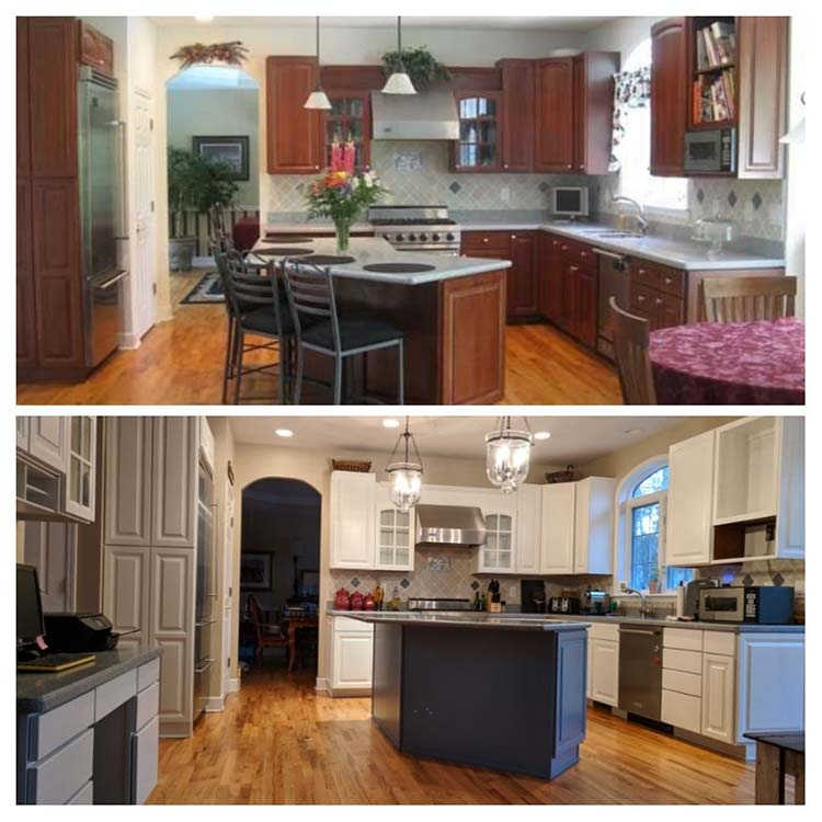 Dark wood cabinets before and white painted cabinets after