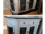 Custom furniture painting, glazed buffet