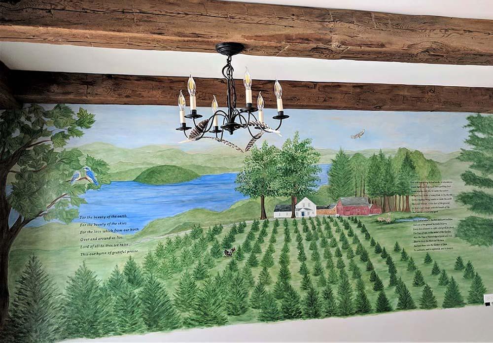 Custom tree farm mural