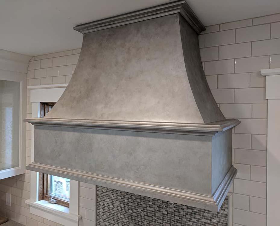 Custom painted metal finish stove hood