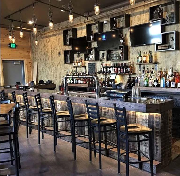 Restaurant bar with stools
