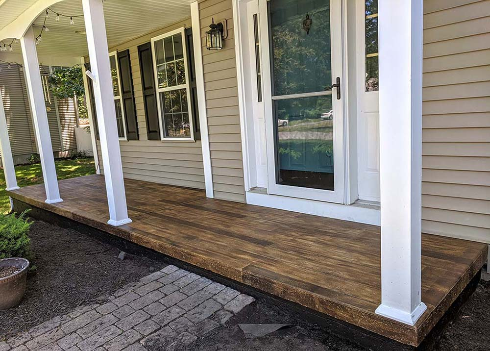 fuax wood plank on cement porch