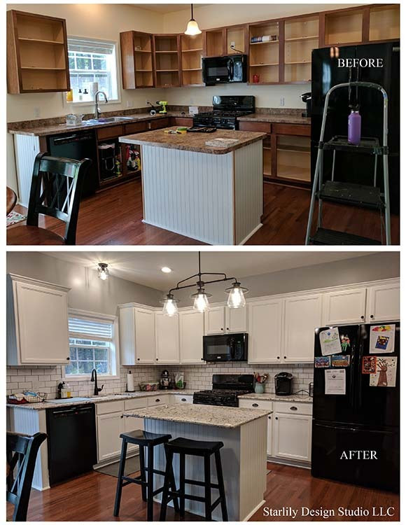 wood cabinets before and white cabinets painted after