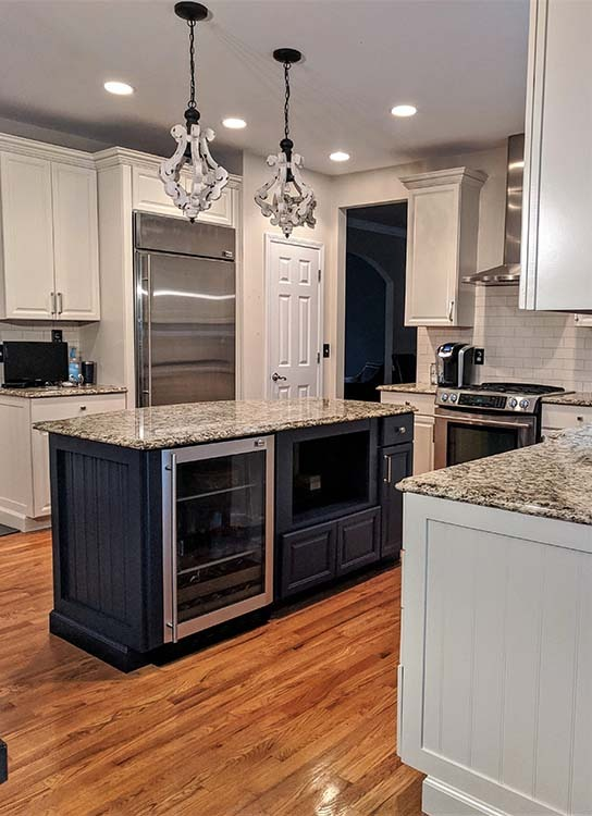 blue and white cabinets in kitchen