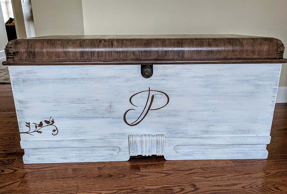 Hope chest with custom paint