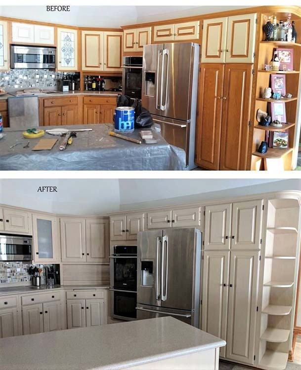wood painted kitchen cabinets before and after