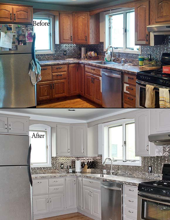 before and after kitchen painted cabinets