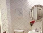 Bathroom with stenciled wall