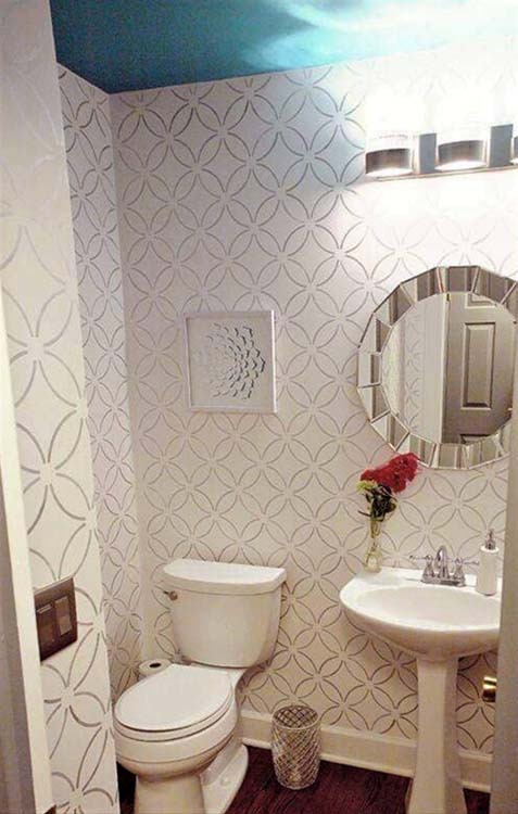 Bathroom with stenciled wall