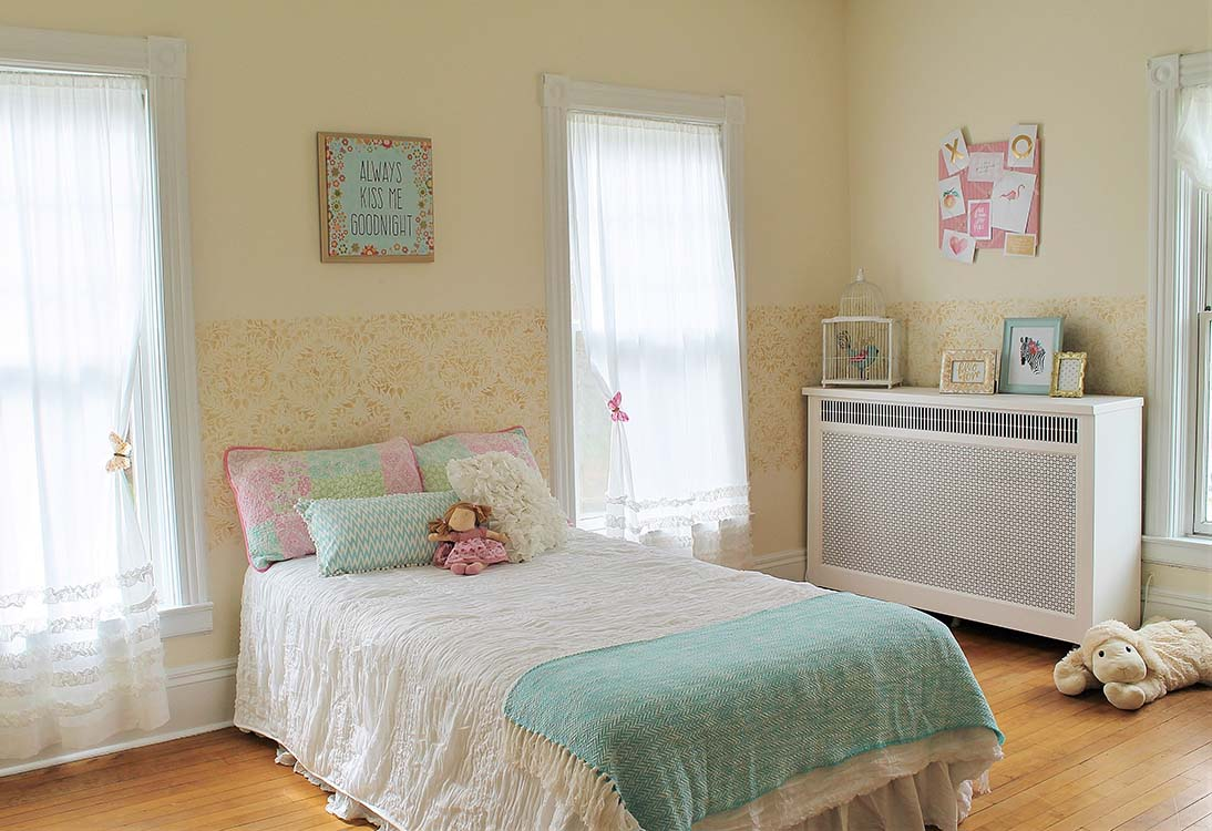 bedroom with custom stenciled wall paint